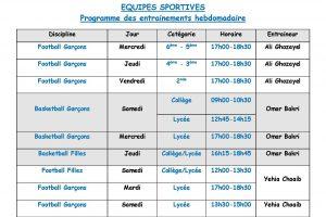 Programme Entrainements hebdomadaire 2018-2019