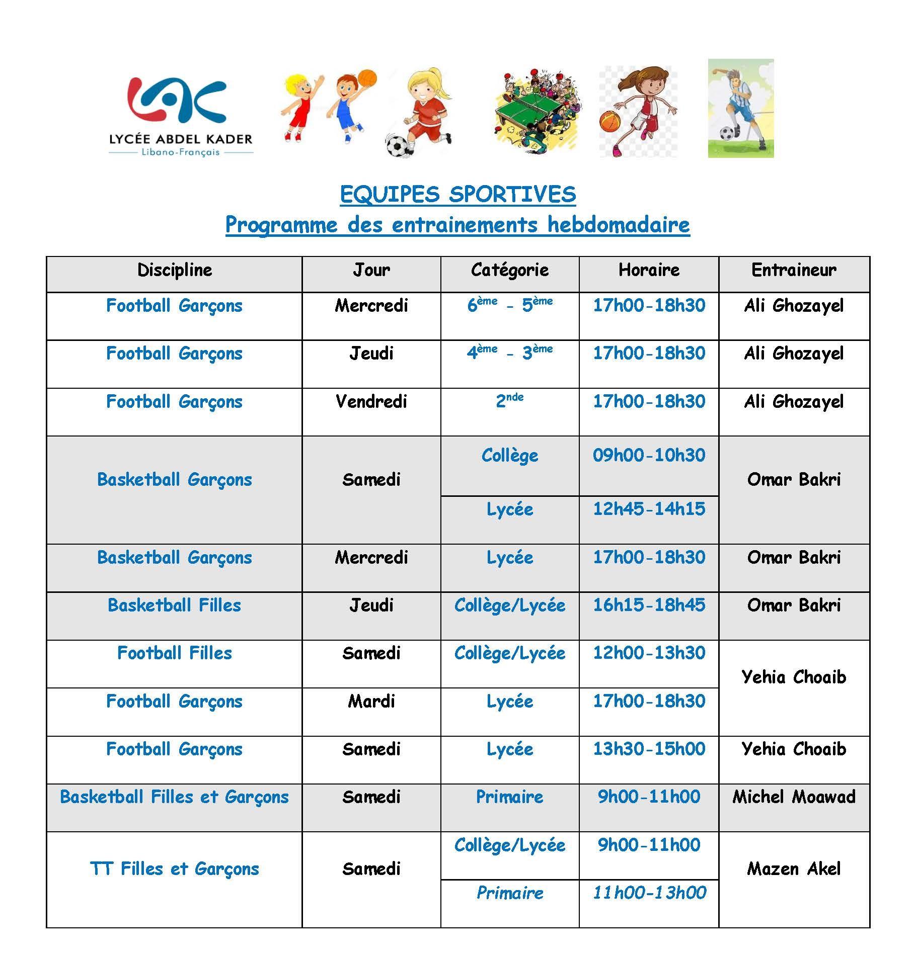 Programme hebdomadaire des entraînements des équipes sportives 2018-2019